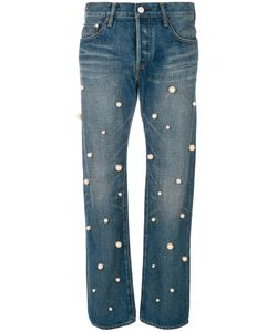 TU ES MON TRESOR | Pearl Embellished Jeans Women