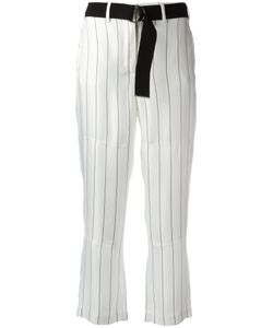 Giorgio Armani | Striped Cropped Trousers 46 Silk/Viscose/Cotton