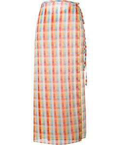 Miu Miu   Checked Midi Skirt Size 44