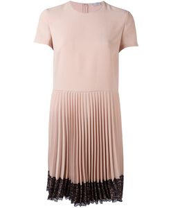 Red Valentino | Pleated Lace Trim Dress 44 Acetate/Polyester