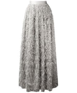 Brunello Cucinelli | Frayed Maxi Skirt 42 Viscose/Acetate/Polyester/Silk