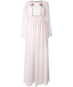 GIAMBA   Long Rose Embroidered Bib Dress
