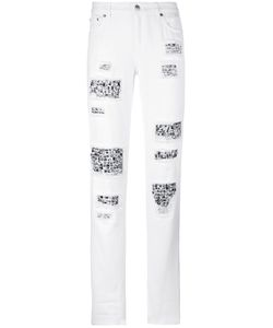Michael Michael Kors | Embellished Distressed Trousers 2 Cotton/Acrylic/Brass