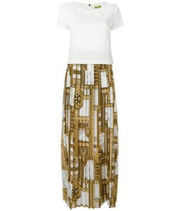 Versace Jeans | Printed Trim Pleated Dress 44