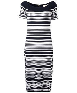 Michael Michael Kors | Striped Fitted Dress Small Viscose/Polyester/Spandex/Elastane