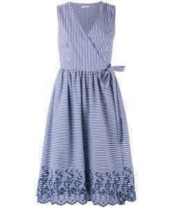P.A.R.O.S.H. | P.A.R.O.S.H. Midi Striped Sleeveless Wrap Dress