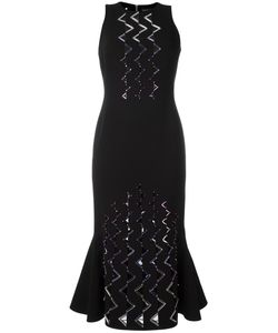David Koma | Geometric Embellishment Fitted Dress 12 Acetate/Viscose/Spandex/Elastane/Lyocell