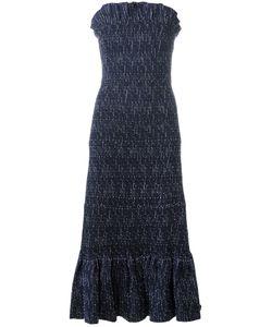 Victoria, Victoria Beckham | Victoria Victoria Beckham Strapless Smocked Dress 6 Cotton/Polyamide/Spandex/Elastane/Silk
