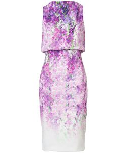 Badgley Mischka | Orchid Print Sleeveless Dress 4 Polyester/Spandex/Elastane