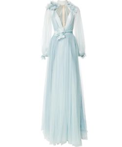 Marchesa | Billowing Detail Gown 8 Silk/Polyester