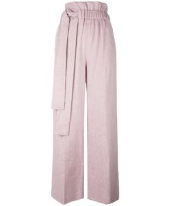 MSGM | Elasticated Waist Straight Trousers 42 Cotton/Linen/Flax