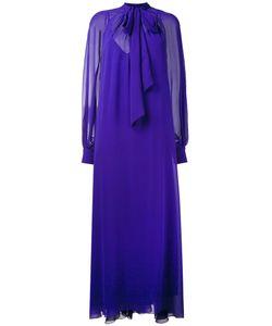 Lanvin | Длинное Платье С Присборенными У Манжет Рукавами