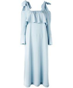 Ganni | Fluted Sleeve Cold Shoulder Dress