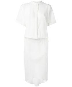 Brunello Cucinelli | Cinched Shirt Dress Medium Silk/Acetate/Brass