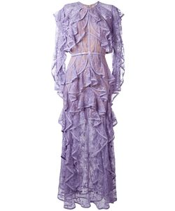 Elie Saab | Ruffled Lace Dress 38 Silk/Nylon/Polyester/Silk