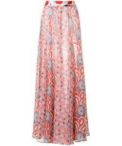 Michel Klein | Abstract Print Long Skirt 38 Silk