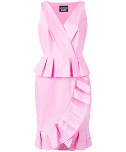 BOUTIQUE MOSCHINO | Frill Hem V-Neck Dress 44 Cotton/Other