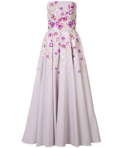Marchesa Notte | Strapless Print Dress