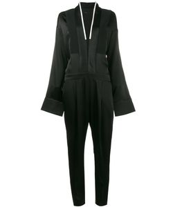 Haider Ackermann | V-Neck Long Sleeve Jumpsuit 38 Acetate/Rayon/Cotton