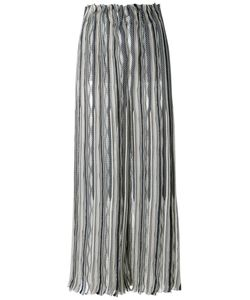 Giorgio Armani | Striped Wide Leg Trousers 44 Silk/Cashmere