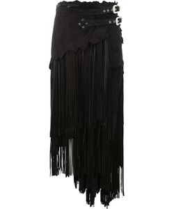 Faith Connexion | Asymmetric Fringed Leather Skirt Size 38 Sheep