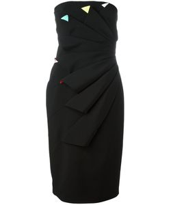 CAPUCCI   Pleated Strapless Dress 44 Viscose/Polyester/Spandex/Elastane/Acetate