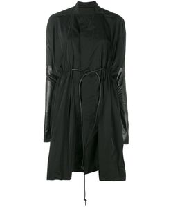 Rick Owens | Leather Panel Sail Coat 40 Polyester/Leather/Wool/Cupro