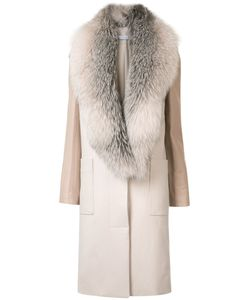 SALLY LAPOINTE | Long-Length Coat 4 Leather/Cashmere/Silk/Fox Fur