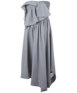 Cedric Charlier | Cédric Charlier Houndstooth Pattern Ruffled Dress 42 Cotton/Rayon