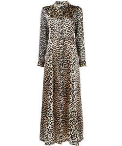 Ganni | Длинное Платье Из Шелка С Леопардовым Рисунком