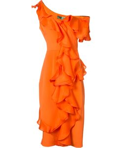 CHRISTIAN SIRIANO | Fitted Ruffle Trim Dress