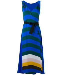 Fendi | Stripe Wrap-Front Dress 42 Silk