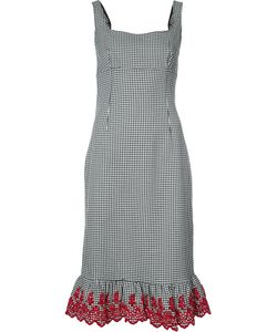 Altuzarra | Embroidered Ruffled Checked Dress