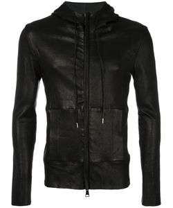 Giorgio Brato | Leather Hooded Jacket 48 Leather/Cotton/Spandex/Elastane
