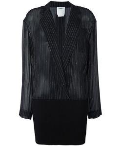 DKNY | Ribbed Hem Pinstripe Shirt 0 Silk/Merino