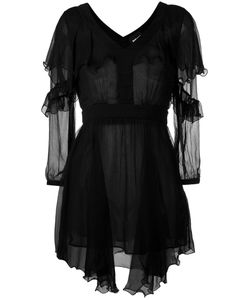 Just Cavalli | Asymmetric Hem Sheer Dress 42 Viscose/Polyester