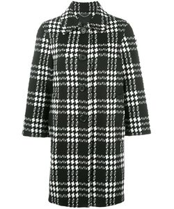 Marc Jacobs | Check Jacquard Buttoned Coat 8 Polyester/Nylon/Silk/Spandex/Elastane