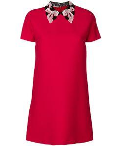 Miu Miu | Платье С Вышитым Кружевным Воротником