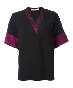 Lanvin | Block Trim V Neck T-Shirt 44 Acetate/Viscose/Polyester/Silk