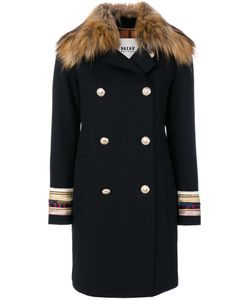 BAZAR DELUXE | Embroidered Cuffs Double-Breasted Coat Women Polyamide/Polyester/Spandex/Elastane/Virgin