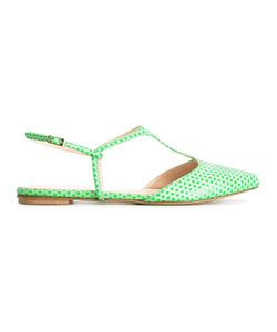 LENORA | Polka Dots T-Strap Sandals 36 Leather/Pvc