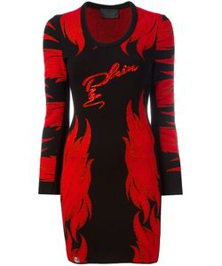 Philipp Plein | Flame Pattern Knitted Dress Large Polyester/Viscose