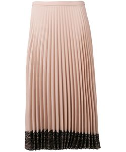 Red Valentino | Lace Hem Pleated Skirt 40 Acetate/Polyester