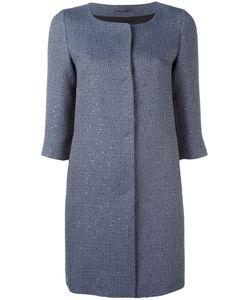 Herno   Glitter Effect Collarless Coat Size 44