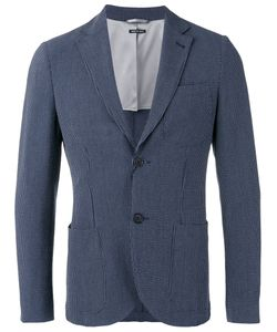 Giorgio Armani | Fantasia Striped Seersucker Blazer 48 Cotton/Spandex/Elastane/Virgin