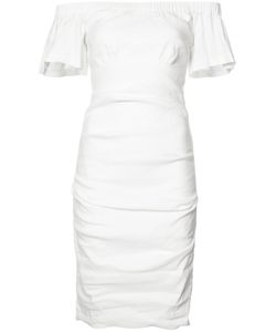 Nicole Miller   Off-Shoulders Fitted Dress 4 Polyester/Spandex/Elastane/Linen/Flax/Viscose