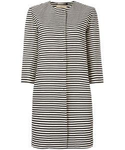 'S Max Mara | Striped Round-Neck Coat 46 Cotton/Ramie/Silk