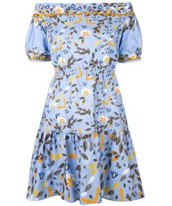 Peter Pilotto | Printed Off-The-Shoulder Dress Size 8 Cotton/Spandex/Elastane/Polyester
