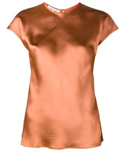 Helmut Lang | Short Sleeve Satin Top Medium Viscose