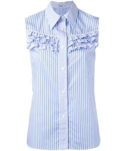 Miu Miu | Ruffled Trim Sleeveless Striped Shirt Size 40